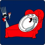 Fork is shocked. Plate and spoon in bed tshirt.
