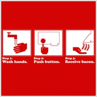Wash hands, push button, receive bacon tshirt