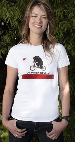 california republic bear on a bike tshirt California Republic Flag: Bear on a Bicycle T shirt