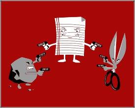 mexican standoff rock paper scissors tshirt Mexican Standoff: Rock Paper Scissors T Shirt