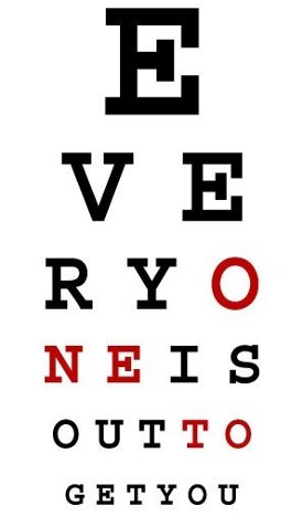 everyone is out to get you eyechart tshirt Subliminal Eye Chart   Everyone is Out to Get You Tshirt