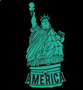 america fat statue of liberty tshirt Fat America Statue of Liberty T shirt