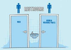 restrooms men women wearing pants tshirt Restrooms: Men and Women Wearing Pants T Shirt