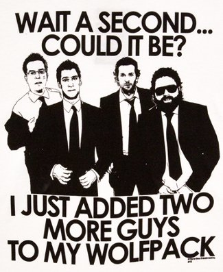wait a second could it be i just added two more guys to my wolfpack hangover tshirt The Hangover T Shirts
