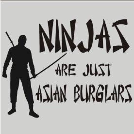 ninjas are just asian burglars t shirt Best Funny Ninja Shirts on the Web For Your Stealthy Dangerous Pleasure