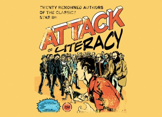 attack of literacy t shirt1 Zombie T shirts: Get the Undead on Your Chest