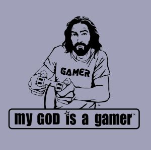my god is a gamer t shirt My God Designs: Cool Jesus Wants to Save Your Soul