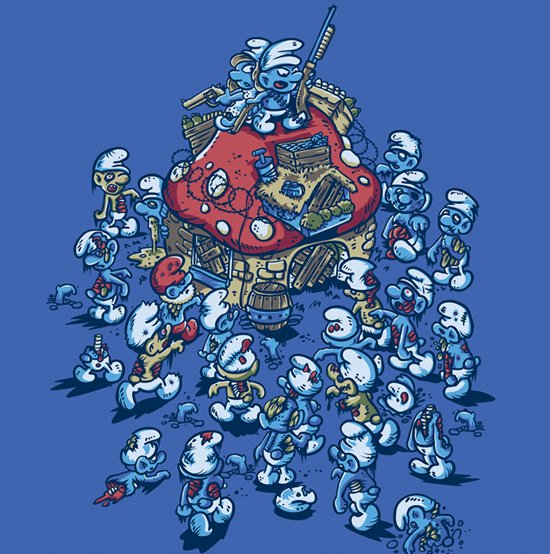 smurf zombies blue horde t shirt Zombie T shirts: Get the Undead on Your Chest