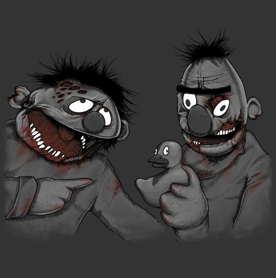 zombie bert and ernie t shirt Zombie T shirts: Get the Undead on Your Chest