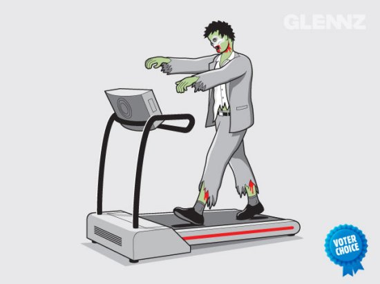 zombie treadmill eternal exercise t shirt2 Zombie T shirts: Get the Undead on Your Chest