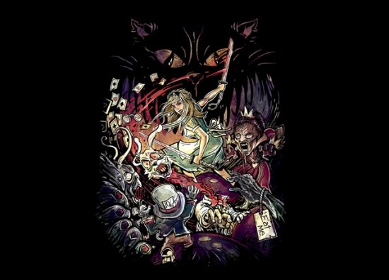 zombies in wonderland t shirt1 Zombie T shirts: Get the Undead on Your Chest