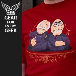 frakking puppets t shirt1 Battlestar Galactica The Muppets Waldorf and Statler Frakking Puppets T shirt