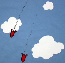wonderful missiles clouds blue sky t shirt Exploding Dog Bombs in the Sky Wonderful T Shirt