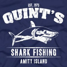 quints shark fishing amity island jaws t shirt Funny Shark T Shirts: Surf With Caution