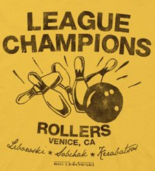 league champions t shirt1 The Big Lebowski Bowling League Champions Rollers Gold Adult T Shirt 