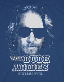 the dude abides face t shirt Big Lebowski Bungalow For Sale