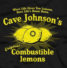 cave johnson lemons t shirt Portal 2 Cave Johnsons Original Combustible Lemons T Shirt from Five Finger Tees