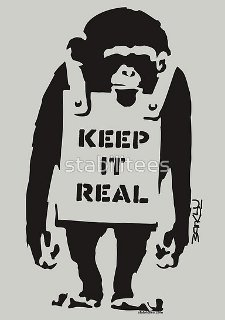 banksy keep it real t shirt Banksy Monkey Sandwich Board Keep It Real T Shirt from Red Bubble