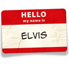 elvis name tag t shirt Hello My Name is Elvis Name Tag T Shirt from Big Nut Tees