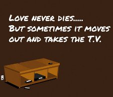 love never dies but sometimes it moves out and takes the tv t shirt Love Never Dies But Sometimes It Moves Out and Takes the TV T Shirt from Why Because