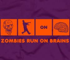 zombies run on brains t shirt Zombies Run On Brains T Shirt from Five Finger Tees