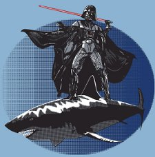 darth vader shark t shirt Darth Vader Surfing on the Back of a Shark T Shirt from Red Bubble