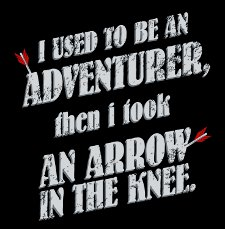 i used to be an adventurer then i took an arrow in the knee t shirt Skyrim I Used to Be An Adventurer Then I Took An Arrow in the Knee T Shirt from Snorg Tees