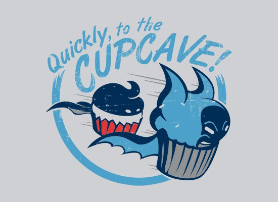 quickly to the cupcake t shirt Batman and Robin Quickly To the Cupcave T Shirt from Snorg Tees
