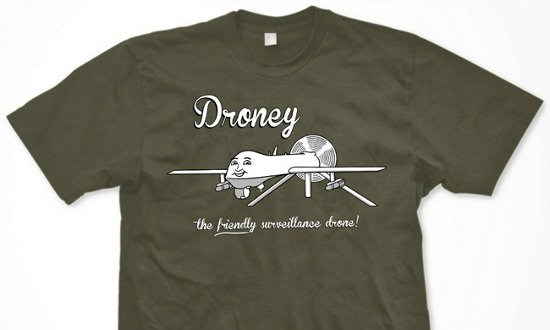 droney the friendly surveillance drone t shirt Droney The Friendly Surveillance Drone T Shirt from Topatoco