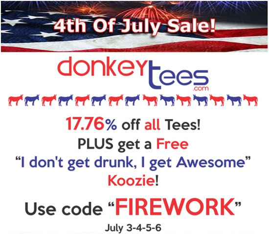 donkey tees 4th july 2012 discount t shirt Donkey Tees Fourth of July 2012 Discount