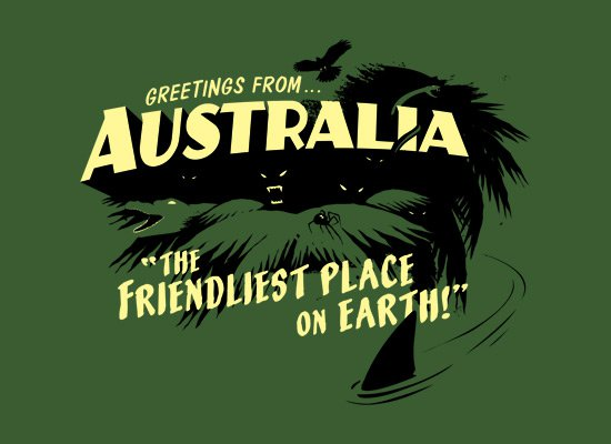 greetings from australia the friendliest place on earth t shirt Greetings from Australia The Friendliest Place on Earth T Shirt