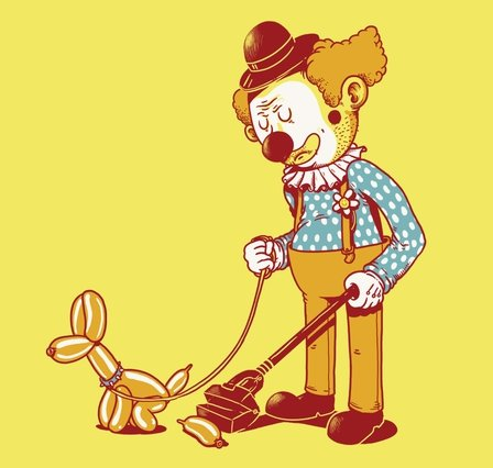 clown dog cleaning up t shirt Clown Dog Shit T Shirt