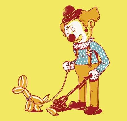 clown dog cleaning up t shirt Clown Dog Shit T Shirt