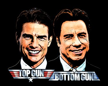 top gun bottom gun t shirt Tom Cruise John Travolta Top Gun Bottom Gun T Shirt