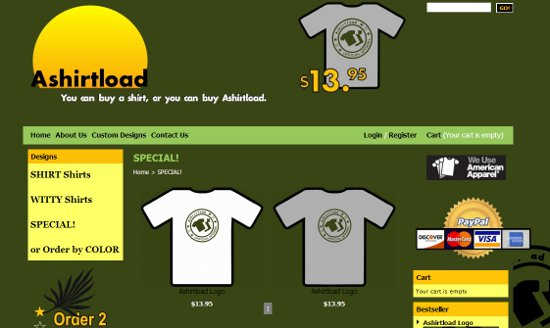 ashirtload home page Ashirtload: Shirt Shop Interview