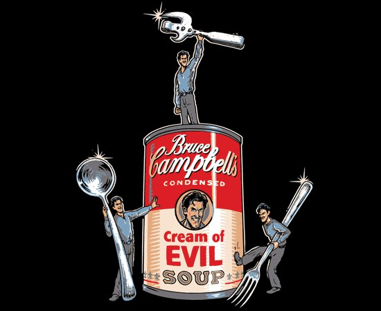 bruce campbells cream of evil soup t shirt Bruce Campbells Cream of Evil Soup T Shirt