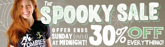snorg tees spooky sale t shirt Snorg Tees Halloween Sale 2012