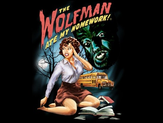 the wolfman ate my homework t shirt The Wolfman Ate My Homework T Shirt