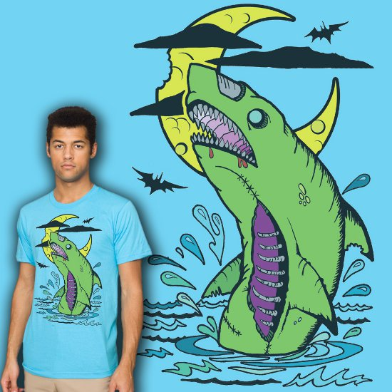 zombie shark t shirt1 Zombie Shark T Shirt