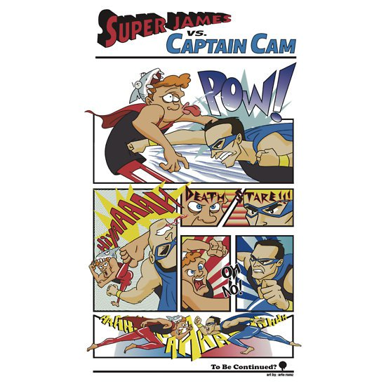 super james vs captain cam t shirt Super James Vs. Captain Cam T shirt
