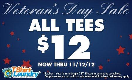 tl veterans day sale Tshirt Laundry Veterans Day Sale 2012