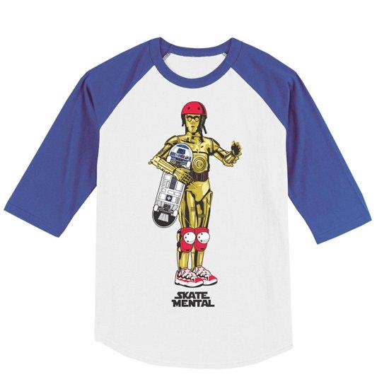 C3PO skater R2D2 skateboard t shirt D3PO T Shirt