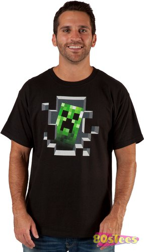 minecraft humanoid breaking through wall t shirt Minecraft Humanoid Creeper T Shirt