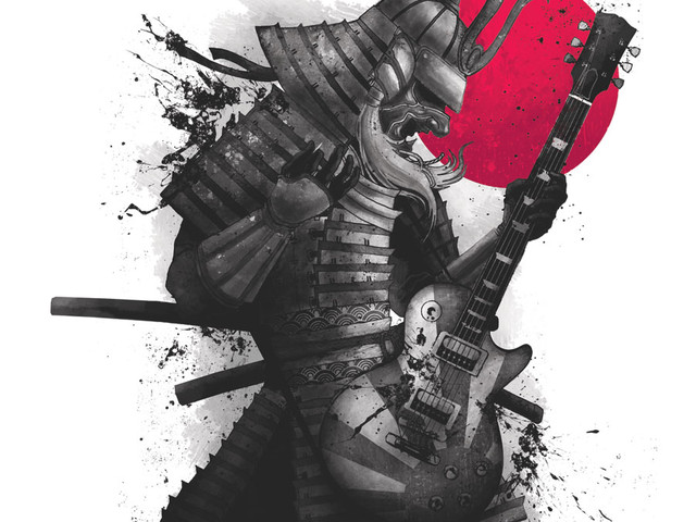 samurai warrior guitar player t shirt Samurai Warrior Guitar Player T Shirt