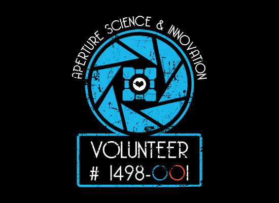 aperture science innovation Portal 2 Aperture Laboratories Volunteer T Shirt from Snorg